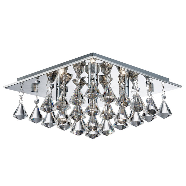 Searchlight HANNA - 4 LIGHT SQUARE FLUSH CEILING, CHROME, CLEAR CRYSTAL PYRAMID DROPS