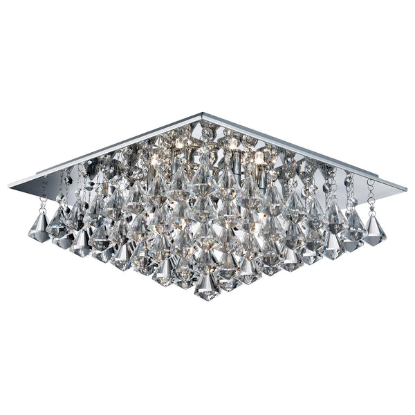 Searchlight HANNA - 6 LIGHT SQUARE FLUSH CEILING, CHROME, CLEAR CRYSTAL PYRAMID DROPS