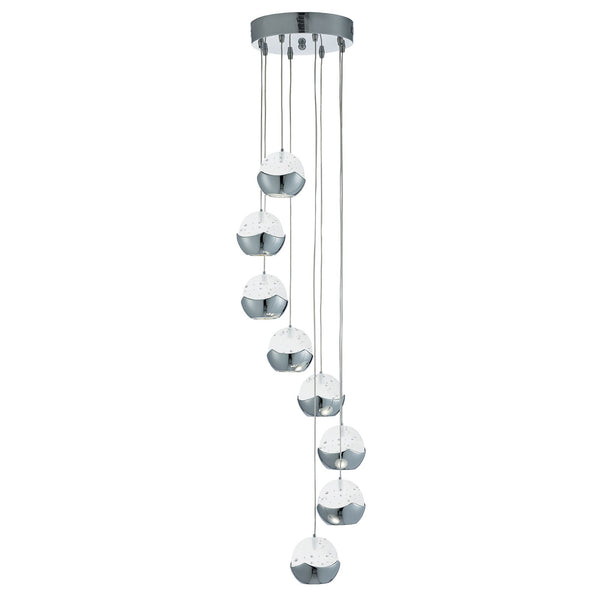 Searchlight ICEBALL 8 LIGHT LED CEILING MULTI-DROP, CHROME, CLEAR GLASS-BUBBLE SHADES
