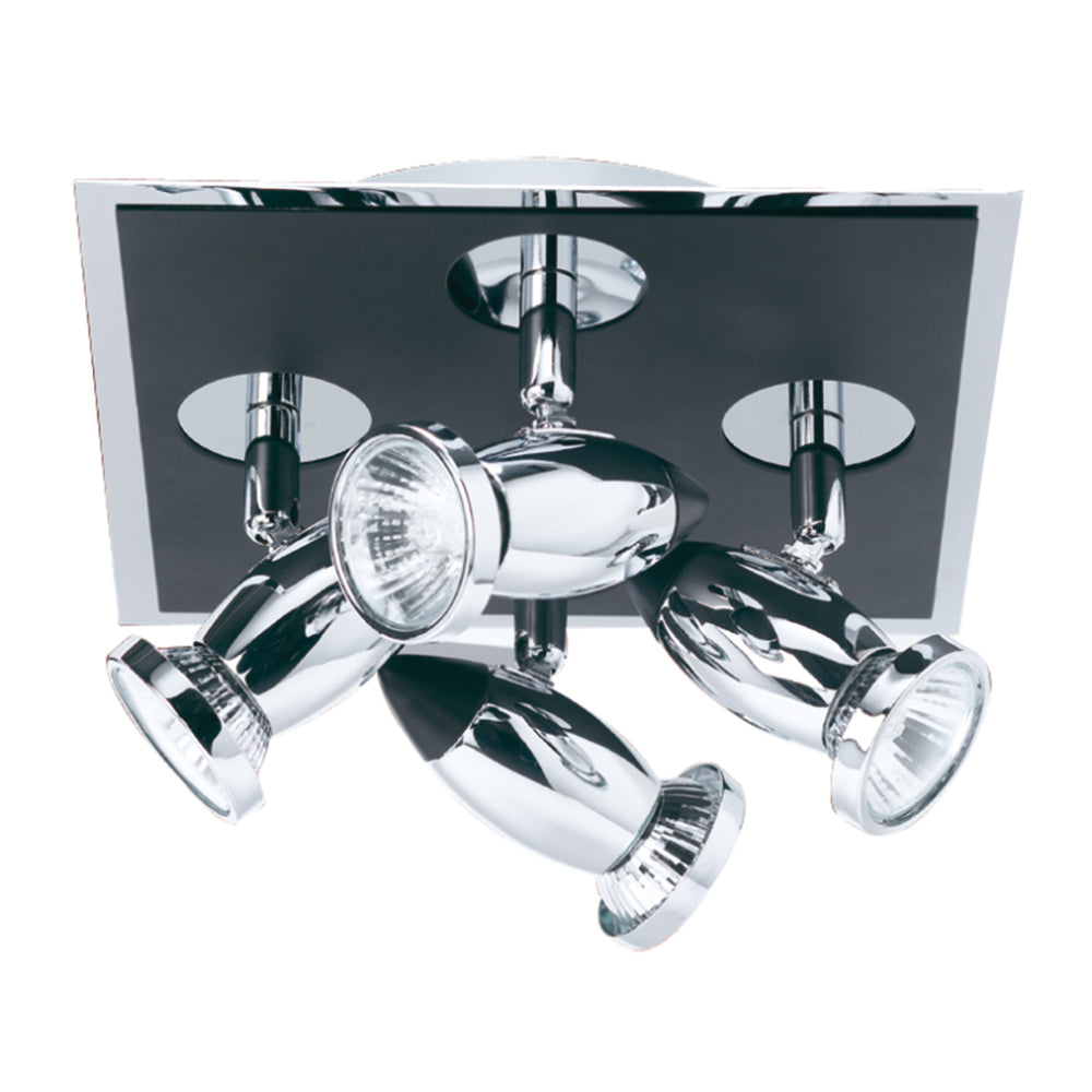 Searchlight COMET 4 LIGHT SQ SPOT MATT BLACK-CHROME GU10