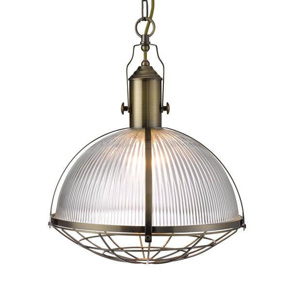 Searchlight INDUSTRIAL PENDANT 1 LIGHT - ANTIQUE BRASS & CLEAR GLASS