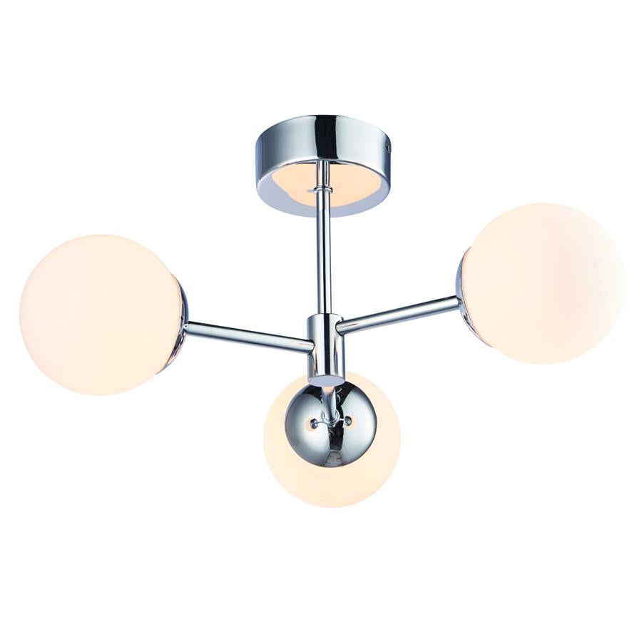 Endon Collection Vetro Bathroom 3lt LED Semi flush