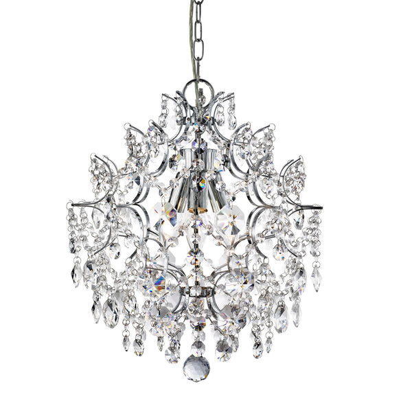 Searchlight HARRIETTA - 3 LIGHT PENDANT, CHROME WITH HEXAGONAL CRYSTAL DROPS & BUTTONS