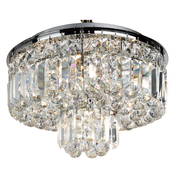 Searchlight HAYLEY 5 LIGHT FLUSH CEILING, CHROME WITH CLEAR CRYSTAL COFFINS TRIM & BALL DROPS