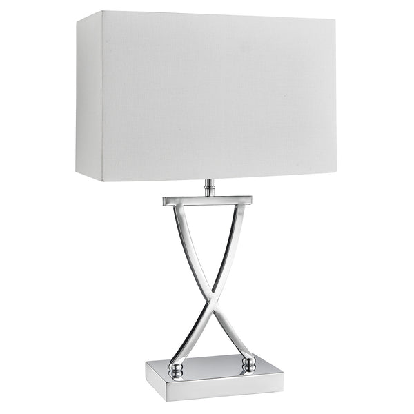 Searchlight CLUB TABLE LAMP, X BASE CHROME, WHITE RECTANGLE SHADE