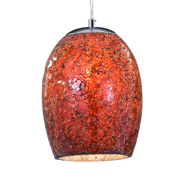 Searchlight CRACKLE - 1 LIGHT PENDANT, RED MOSAIC GLASS & SATIN SILVER SUSPENSION