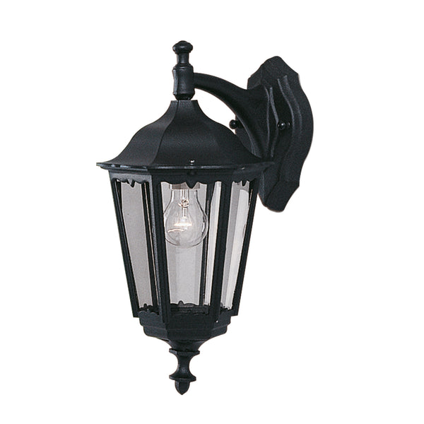Searchlight BEL AIRE BLACK OUTDOOR WALL DOWNLIGHTER WITH CLEAR GLASS