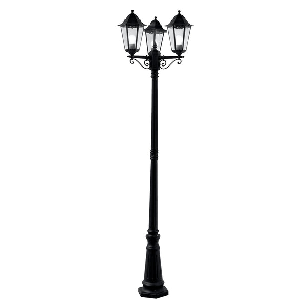 Searchlight ALEX BLACK 3 LIGHTS OUTDOOR LAMP POST WITH CLEAR GLASS