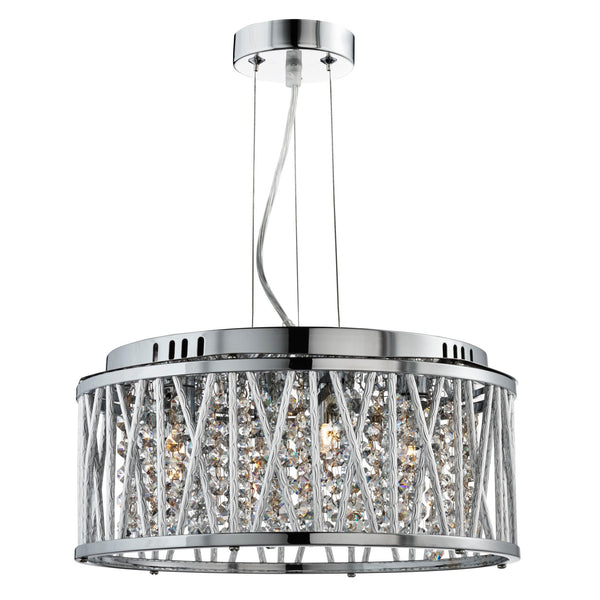 Searchlight ELISE 4 LIGHT CEILING PENDANT, CHROME, CLEAR CRYSTAL BUTTON DROPS, ALUMINIUM TUBES TRIM