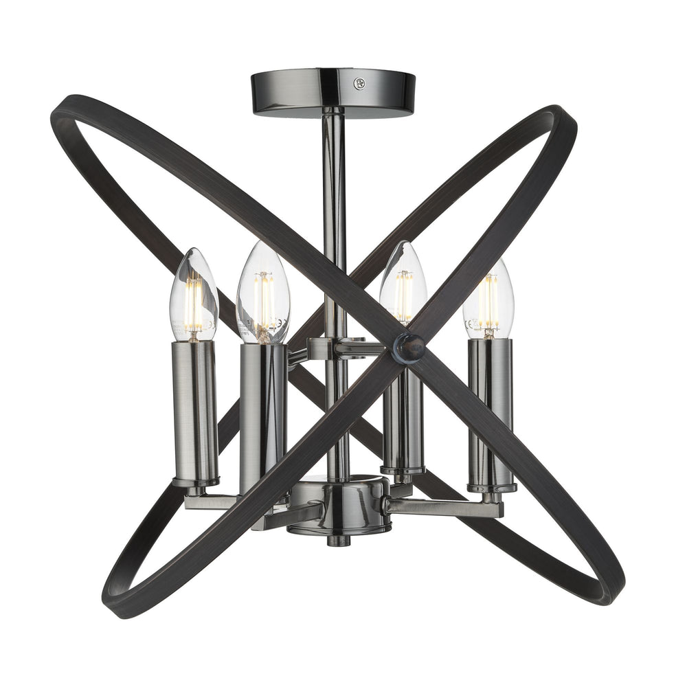 Searchlight HOOPLA 4LT SEMI FLUSH, PEWTER
