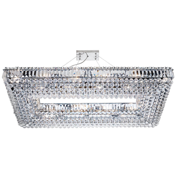 Searchlight VESUVIUS - 26 LIGHT RECTANGLE CRYSTAL CEILING, CHROME, CLEAR COFFIN DROP TRIM & BALL DROPS