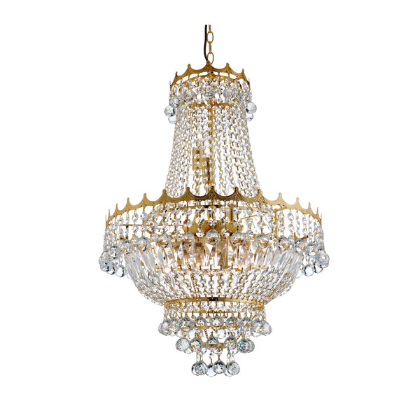 Searchlight VERSAILLES - 9 LIGHT 52CM GOLD PLATED CRYSTAL CHANDELIER