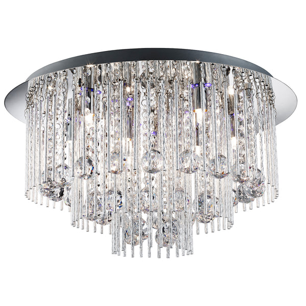 Searchlight BEATRIX CHROME FLUSH CHANDELIER WITH 8 LAMPS AND REMOTE CONTROLLED COLOUR CHANGING LED