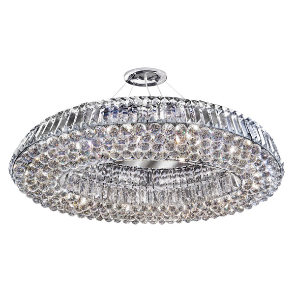Searchlight VESUVIUS - OVAL 10 LIGHT CEILING, CHROME WITH CLEAR CRYSTAL COFFINS TRIM & BALL DROPS