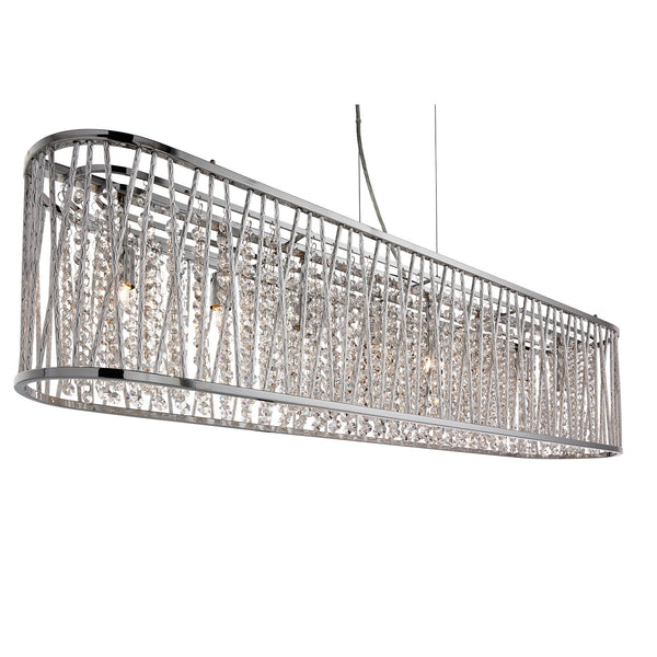 Searchlight ELISE 8 LIGHT OVAL CEILING, ALUMINIUM TUBES TRIM, CHROME, CLEAR CRYSTAL DROPS