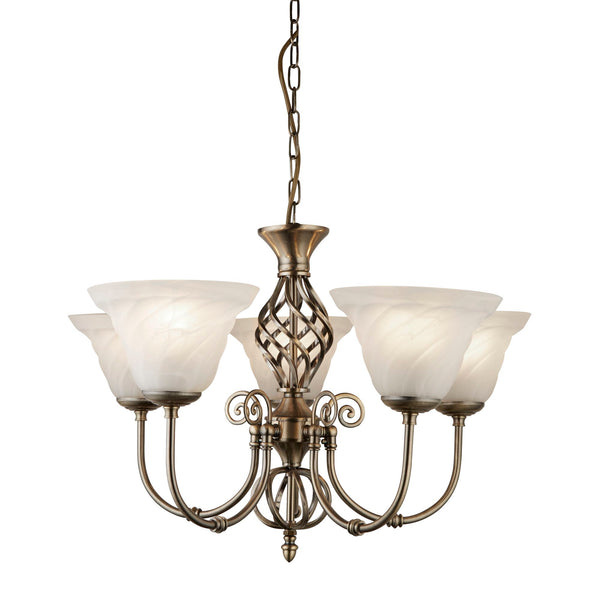 Searchlight CAMEROON ANTIQUE BRASS 5 LIGHTS PENDANT FITTING WITH MARBLE GLASS SHADES