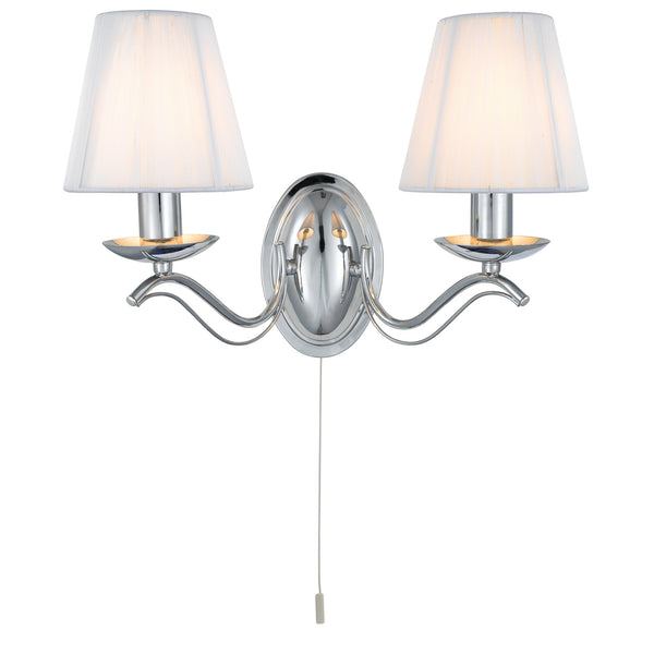 Searchlight ANDRETTI 2 LIGHTS CHROME WALL LIGHT WITH WHITE STRING SHADES