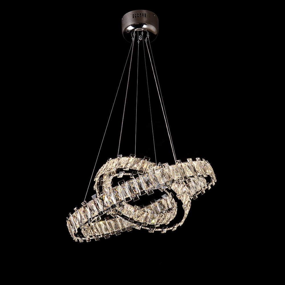 JeweLED Colour Changing LED Bespoke Double Ring Suspended Chandelier with Remote