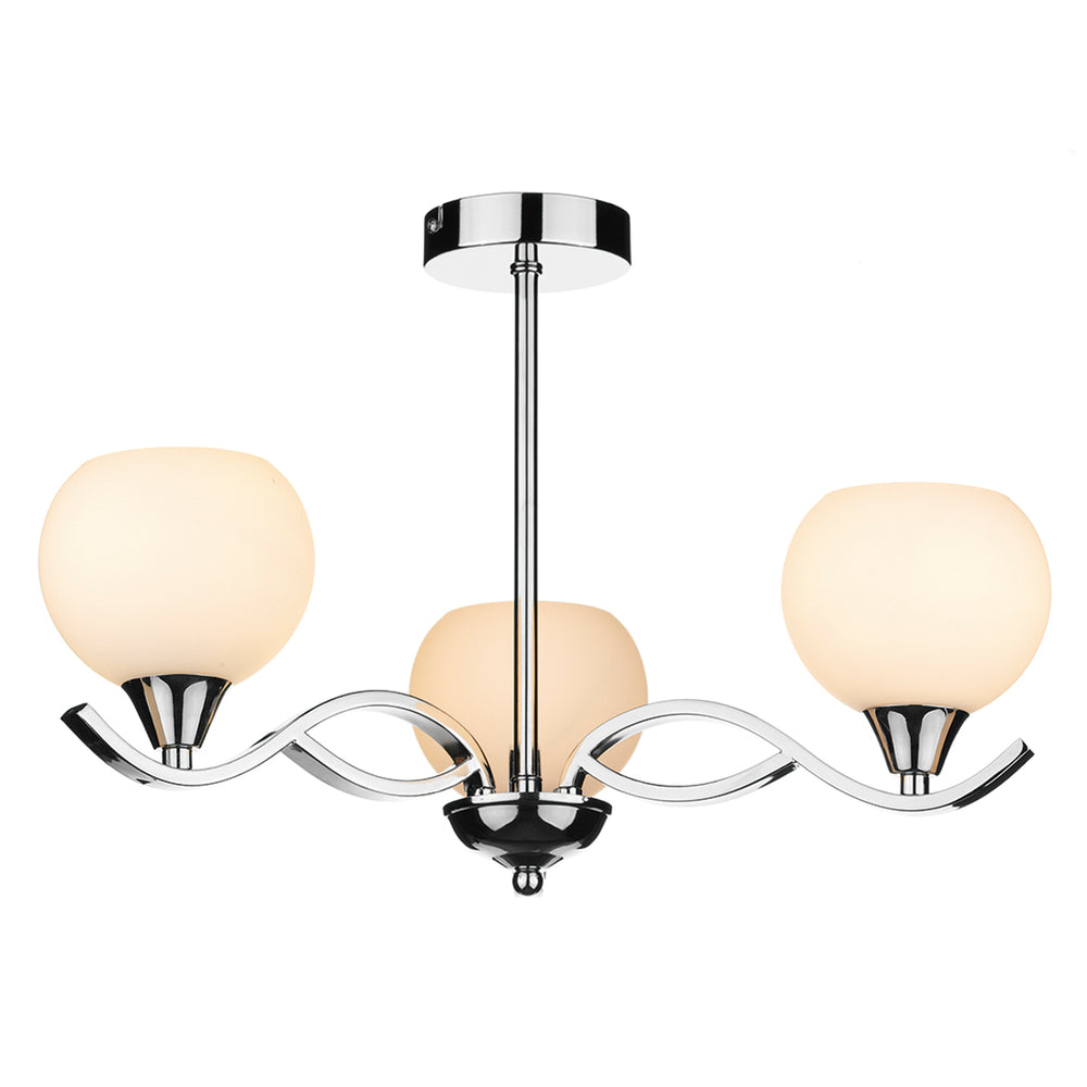 DAR - ARUBA 3 LIGHT SEMI FLUSH POLISHED CHROME