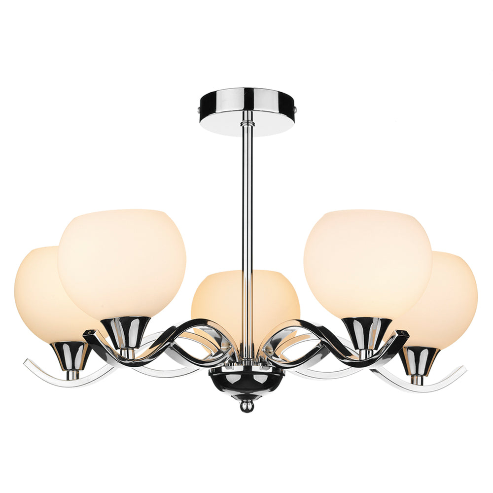 DAR - ARUBA 5 LIGHT SEMI FLUSH POLISHED CHROME