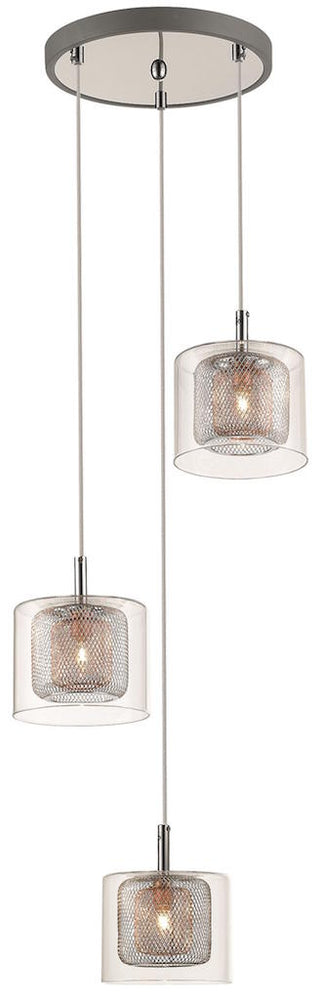 SLM IWEL Decorative Copper and Glass 3 Lights Multi Level Pendant