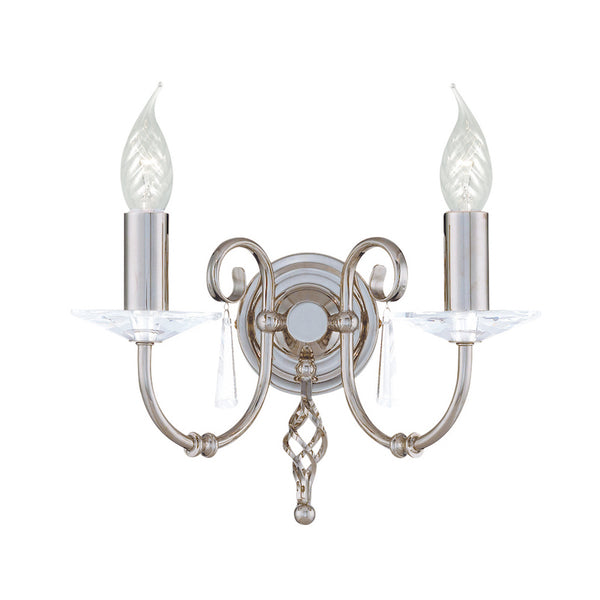 Elstead Lighting AEGEAN 2LT WALL LIGHT POLISHED NICKEL