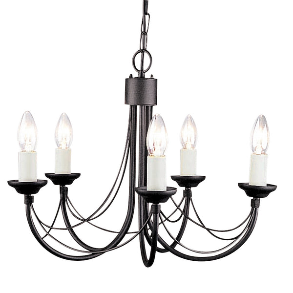 Elstead Lighting CARISBROOKE 5LT CHANDELIER BLACK