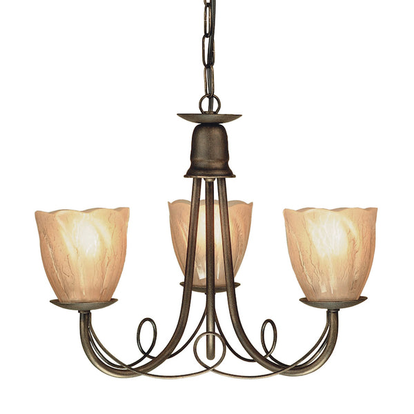 Elstead Lighting MINSTER 3LT CHANDELIER BLACK-GOLD