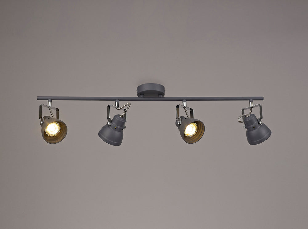 LUMOS Scarlett Adjustable Linear Bar Spotlight -  Matt Grey/Polished Chrome