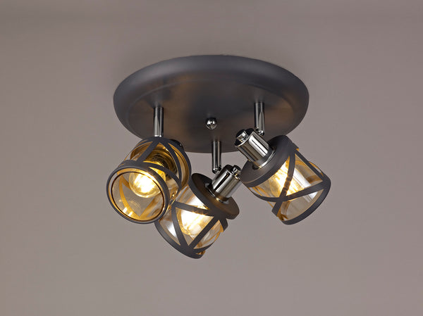 LUMOS Selma 3 Light Round Spotlight  -  Matt Grey/Polished Chrome/Cognac