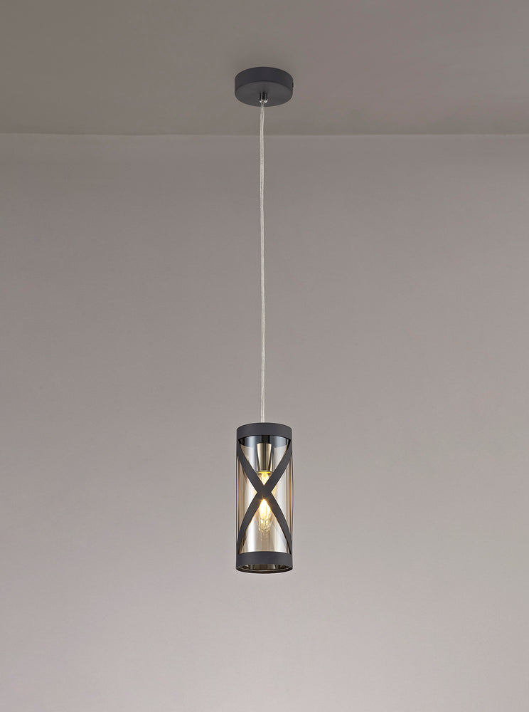 LUMOS Selma 1 Light Pendant  -  Matt Grey/Polished Chrome/Cognac
