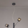 LUMOS Selma 4 Light  Adjustable Pendant  -  Matt Grey/Polished Chrome/Cognac