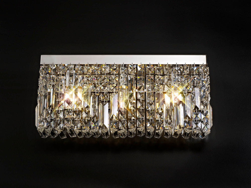 LUMOS Valentina 50x24cm Rectangular Large Wall Lamp -  Polished Chrome/Crystal
