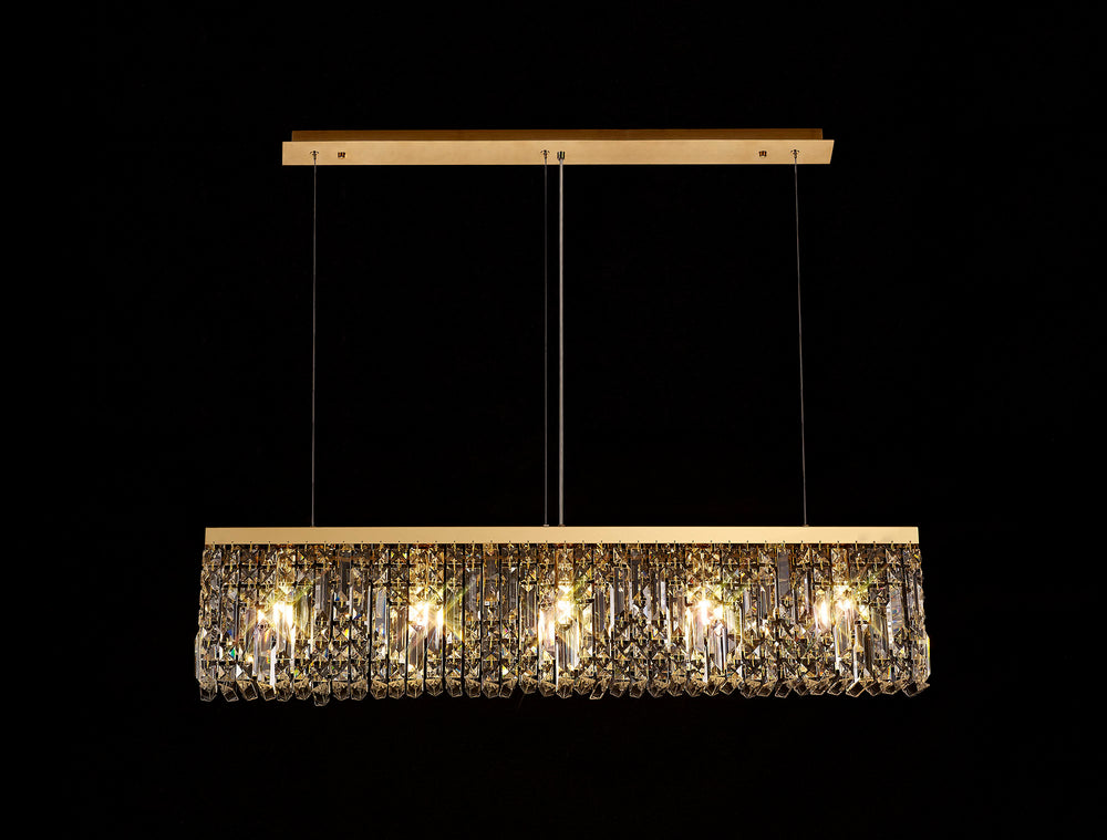 LUMOS Valentina 102x9cm Linear Pendant Chandelier -  Gold/Crystal