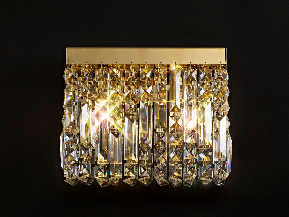 LUMOS Valentina 29x13cm Rectangular Small Wall Lamp -  Gold/Crystal