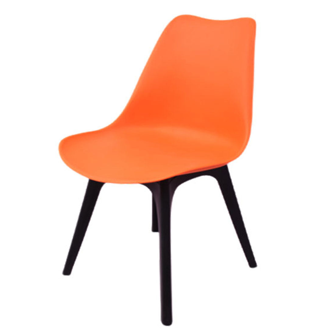 Dining Chair Wood Base Plastic Cafeteria Chair (Orange)
