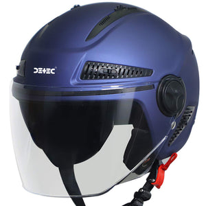 Detec™ Open Face Unisex Helmet (Large 600 MM, Glossy Y. Blue with Clear)