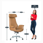 Load image into Gallery viewer, Detec™ Elegance Leatherette Office Executive Chair/Home Ergonomic Design Desk Chair in Tan Colour