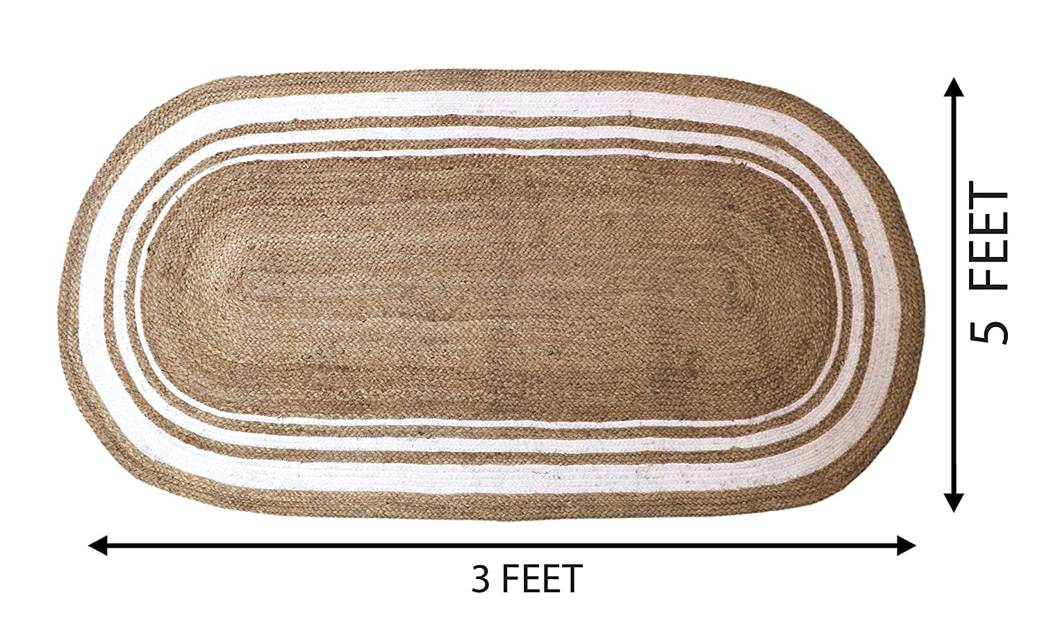 Detec™ Cotton and Jute Floor Rug - White and Beige Color