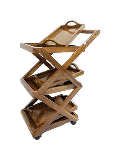 Designer Wooden Dinning/Kitchen / Service Trolley with Detachable Trays 15 X 25 X 38 cms - Detech Devices Private Limited