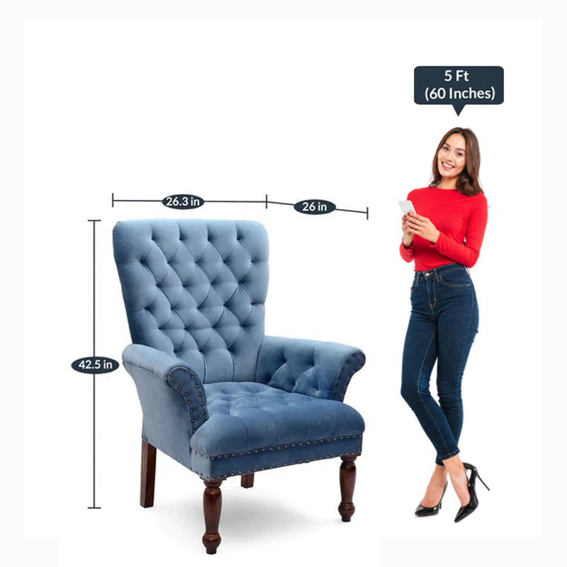 Detec™ Luxury tufted Arm Chair in Blue Colour