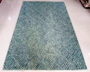 Detec™ Wool Hand Tufted Rug - Ethnic Green Color