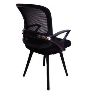 Smart Medium Back Visitor Chair net back Fabric Office Chair (Black)