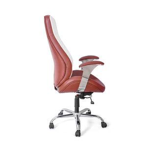 High Back Executive Chair Leatherette Fabric  (White & Brown)