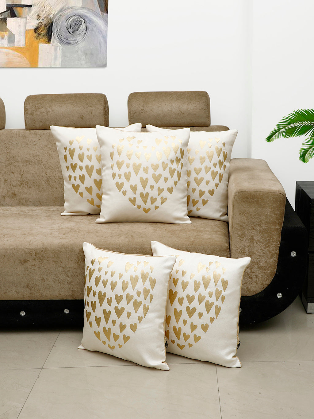 Detec™ Hosta Beige Golden Heart Printed 16 x 16 inches Cushion Cover (Set of 5 )