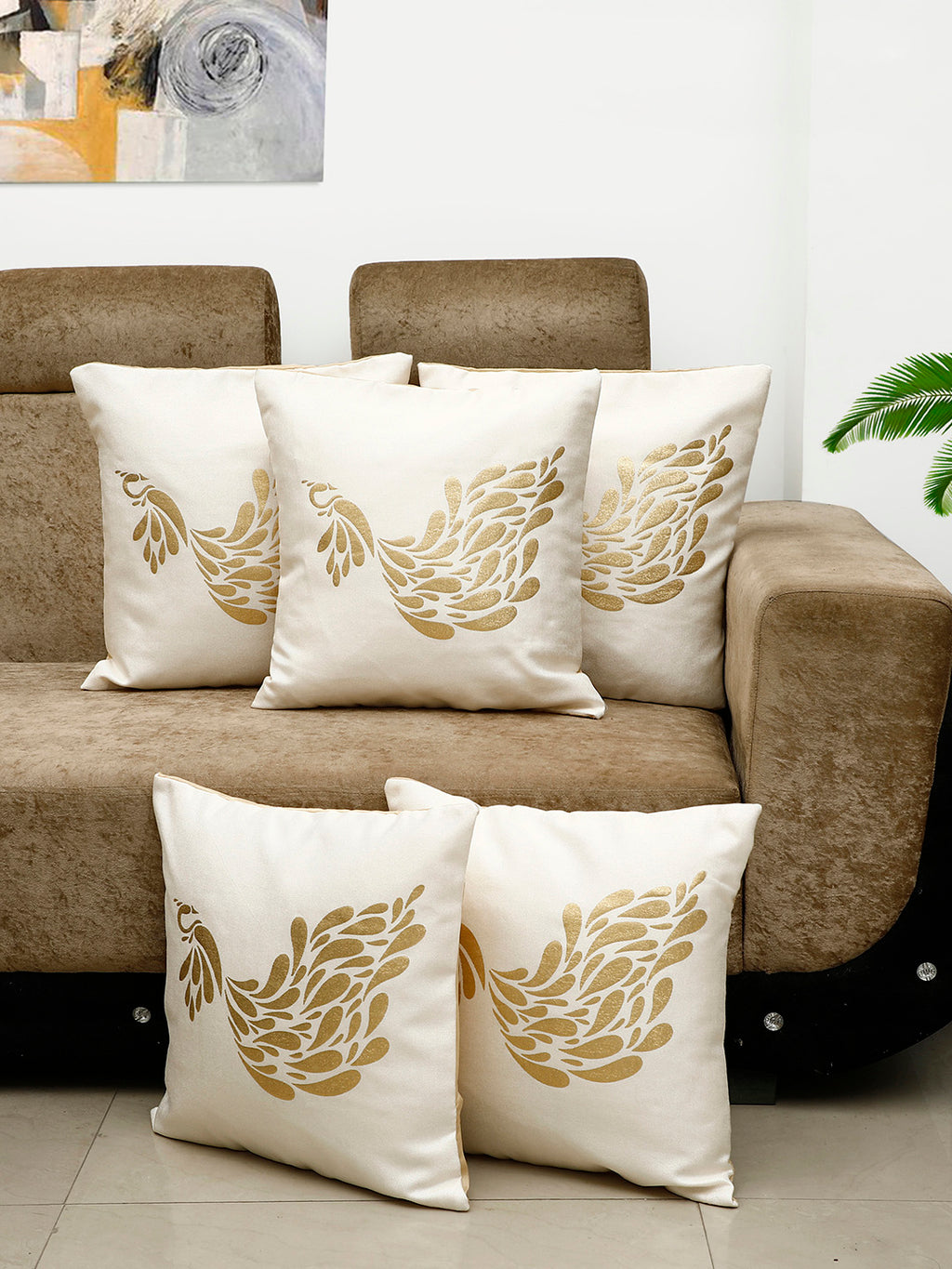 Detec™ Hosta Beige Golden Peacock Printed 16 x 16 inches Cushion Cover (Set of 5)