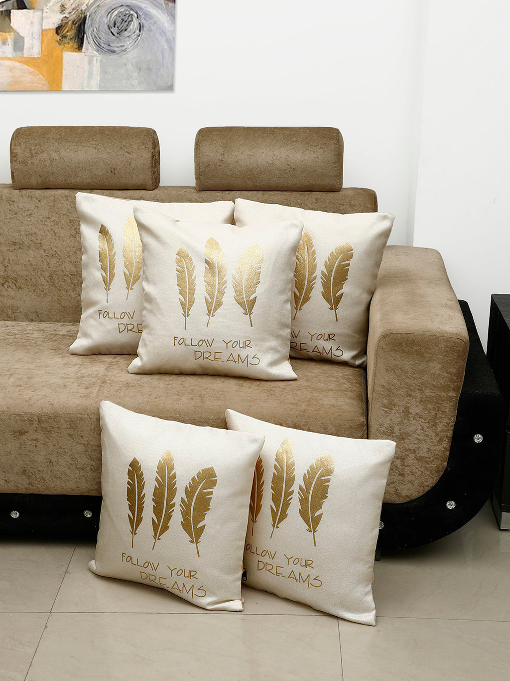 Detec™ Hosta Beige Golden Feather Printed 16 x 16 inches Cushion Cover (Set of 5 )