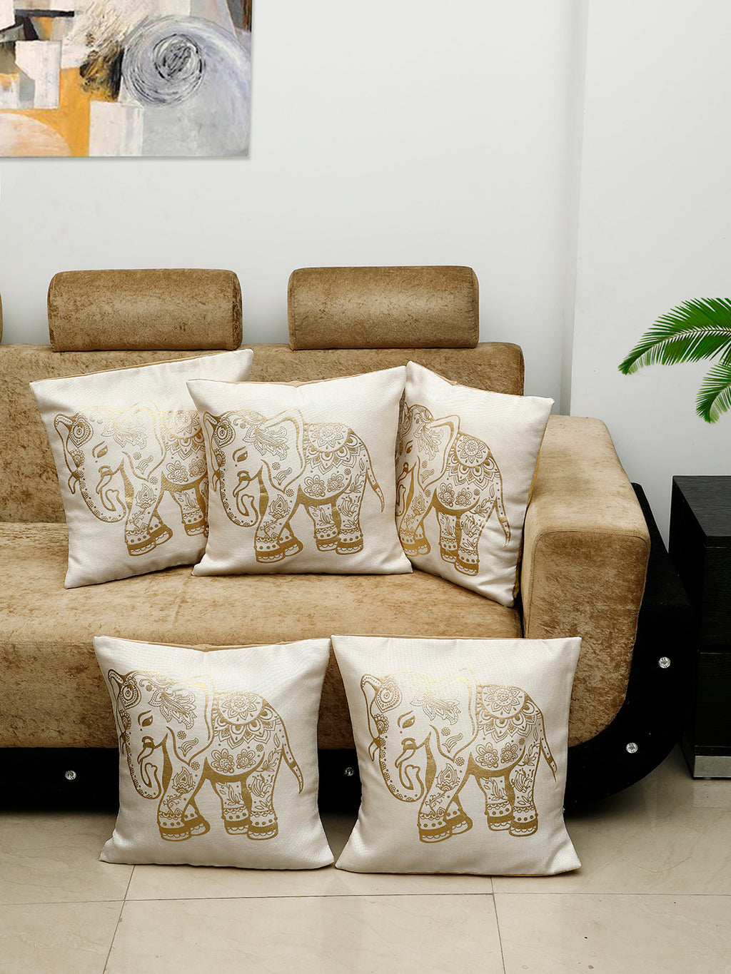 Detec™ Hosta Beige Golden Elephant Printed 16 x 16 inches Cushion Cover (Set of 5)