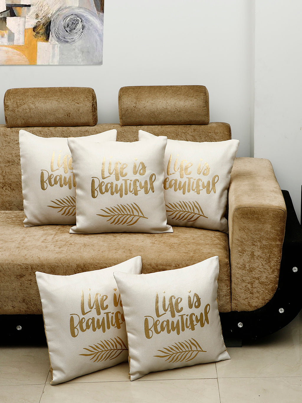 Detec™ Hosta Beige Color 16 x 16 inches Golden Printed Cushion Cover (Set of 5)