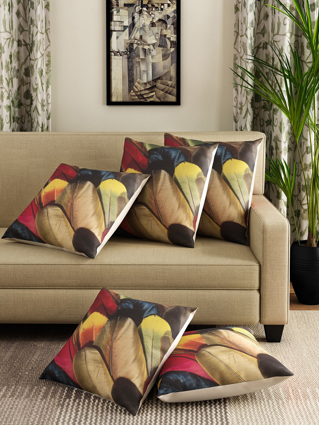 Detec™ Hosta Multi Color Feather Printed 16 x 16 inches Cushion Cover (Set of 5 )